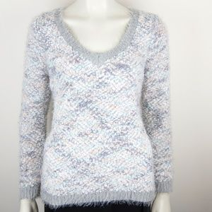 Lauren Conrad V-Neck Fuzzy Pastel Sweater Medium